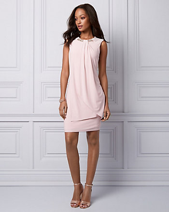 Pearl Embellished Knit Cocktail Dress
