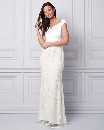 Embroidered Satin Off-the-Shoulder Gown