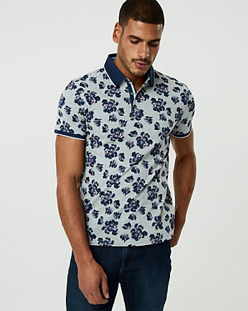 Floral Print Cotton Blend Polo Shirt
