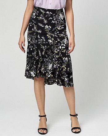 Floral Print Challis Ruffle Skirt