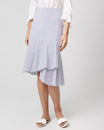 Stripe Cotton Poplin Ruffle Skirt