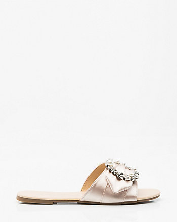 Brooch Embellished Satin Slide Sandal