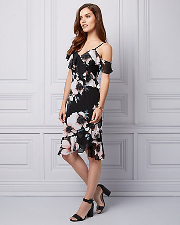 Floral Print Chiffon One Shoulder Dress