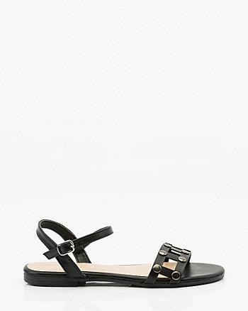 Stud Embellished Cutout Flat Sandal