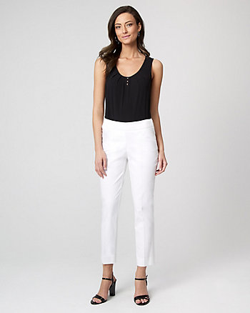Stretch Cotton Sateen Slim Leg Crop Pant