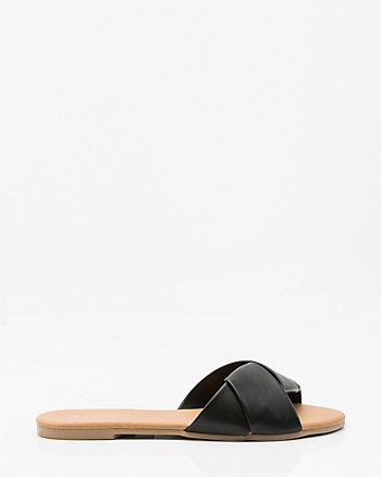 Pleated-Front Slide Sandal
