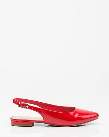 Patent Pointy Toe Slingback Sandal