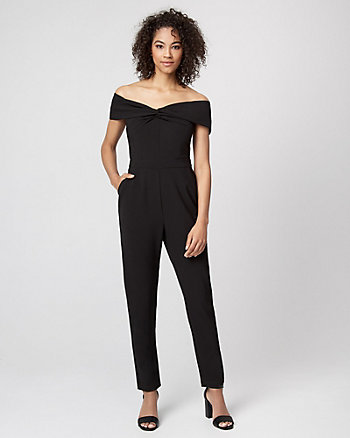 Gabardine Off-the-Shoulder Jumpsuit