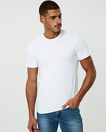 Stretch Cotton Crew Neck Tee