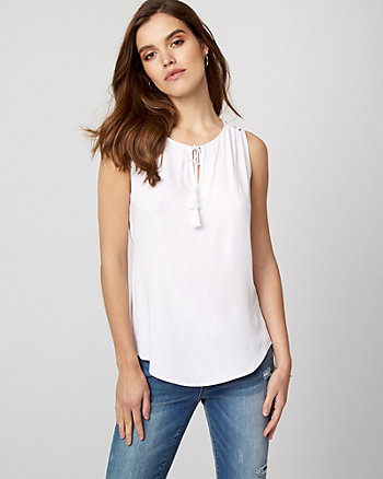 Challis & Lace V-Neck Blouse