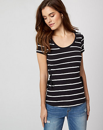 Stripe Cotton Slub Lace-Up T-Shirt