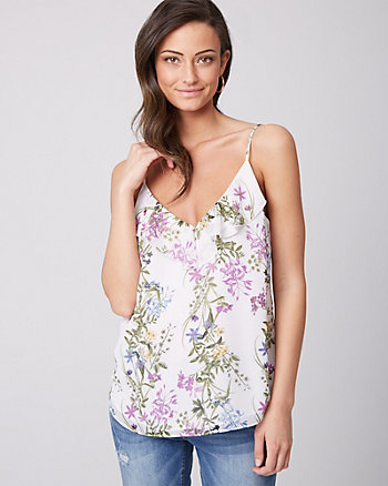 Floral Print Chiffon Scoop Neck Ruffle Camisole
