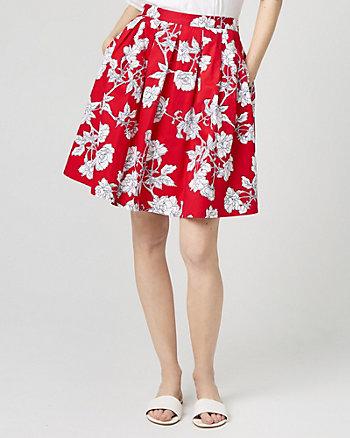 Floral Print Stretch Poplin Flare Skirt