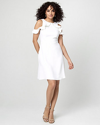 Crêpe Cold Shoulder Ruffle Dress