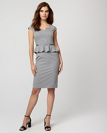 TEXTURED SHEATH DRESS WITH PEPLUM WAIST