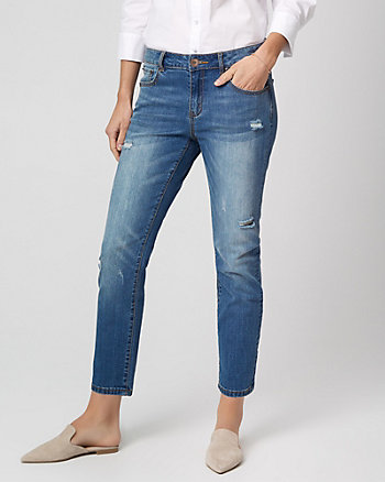 Distressed Stretch Denim Crop Pant
