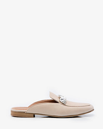 Italian-Made Jewelled Leather Loafer Mule