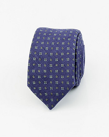 French-Made Linen Blend Tie