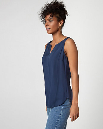 Challis & Jersey Split Neck Blouse
