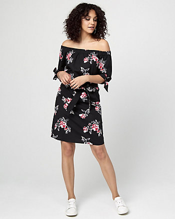 Floral Print Off-the-Shoulder Tunic Dress