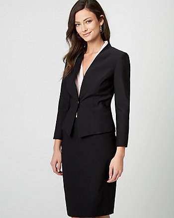 Stretch Satin Button-Front Blazer