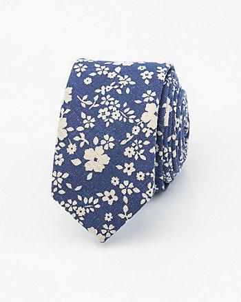 Floral Print Cotton Blend Tie