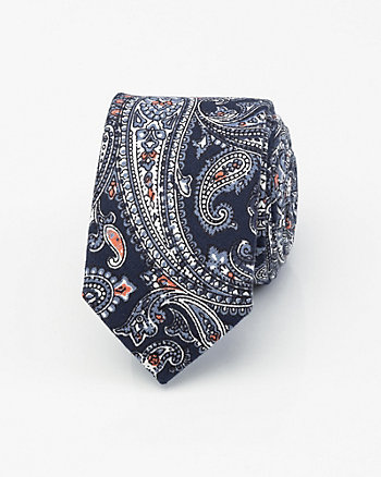 Paisley Print Cotton Blend Skinny Tie