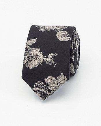 Cravate à motif floral en coton