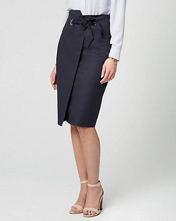 Stripe Viscose Blend Pencil Skirt