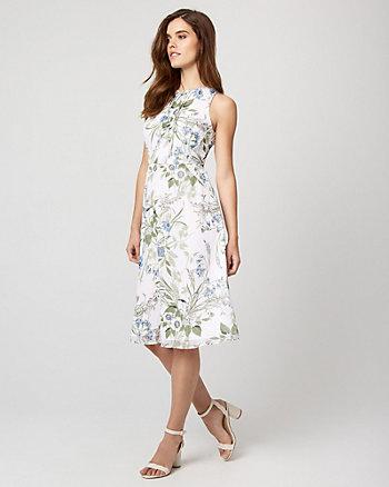 Floral Print Chiffon Flowy Midi Dress