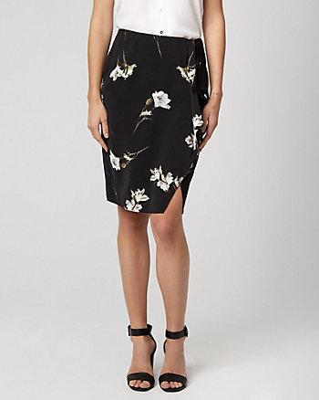 Floral Print Crêpe de Chine Ruffle Skirt
