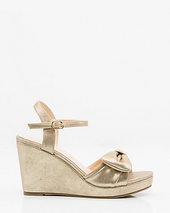 Metallic Bow Wedge Sandal