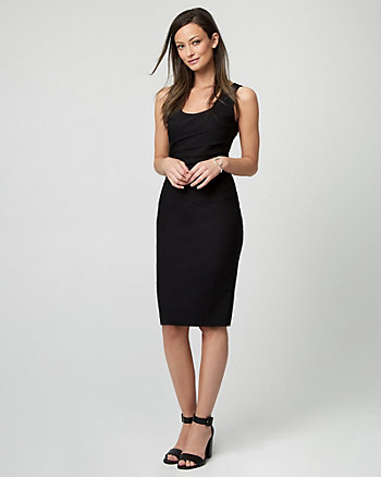 Stretch Sateen Scoop Neck Dress