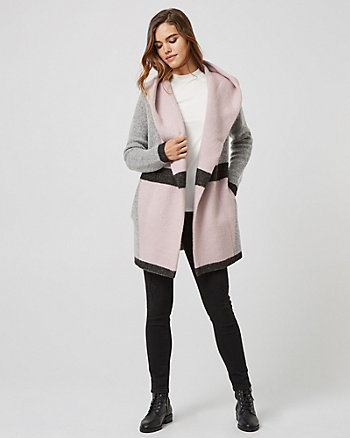 Colour Block Hooded Sweater Coat