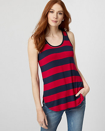 Stripe Jersey Knit Scoop Neck Tank