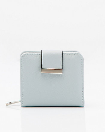 Saffiano Faux Leather Snap Wallet