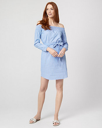 Stripe Cotton Poplin Off-the-Shoulder Dress