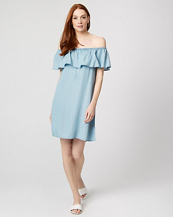 Lyocell Off-the-Shoulder Tunic Dress