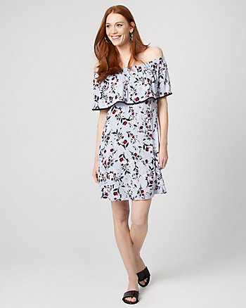 Floral Print Jersey Knit Off-the-Shoulder Dress