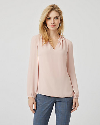 Crêpe de Chine Split Neck Long Sleeve Blouse