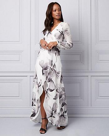 Floral Print Chiffon Wrap-Like Gown