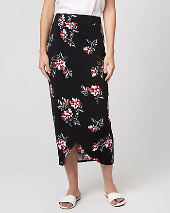 Floral Print Knit Wrap-Like Pencil Skirt