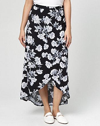 Floral Print Challis Wrap-Like Maxi Skirt