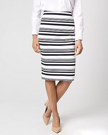 Stripe Knit Crêpe Pencil Skirt
