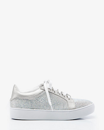 Jewel Embellished Satin Lace-Up Sneaker