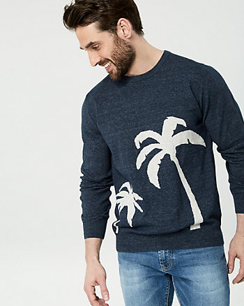 Palm Tree Cotton Crew Neck Sweater
