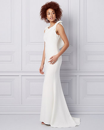 Embellished Triacetate Cowl Neck Gown