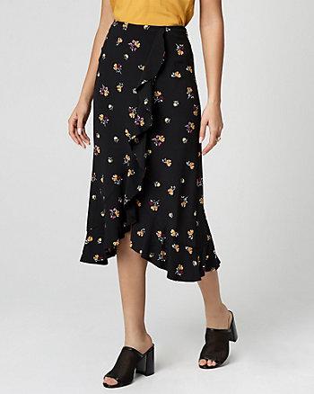 Floral Print Viscose Ruffle Midi Skirt