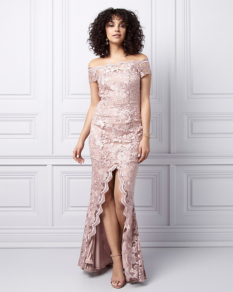a0e2dee5d786 Embroidered Lace Off-the-Shoulder Gown | LE CHÂTEAU