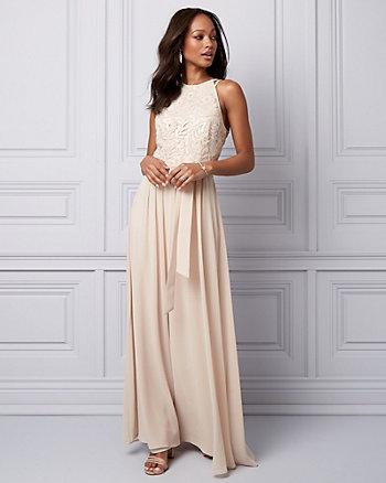 Sequin & Chiffon Halter Gown